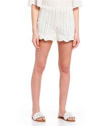 1.STATE Ruffle Hem Stripe Scalloped Hem Shorts - White