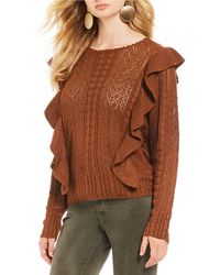 Chelsea & Violet - Cable & Pointelle Scalloped Round Neck Ruffle Sweater - Lyst