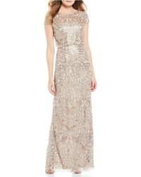 Adrianna Papell Sequin Popover Gown - Metallic