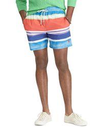 "Polo Ralph Lauren - Watercolor Stripe Traveler 5 3/4"" Swim Trunks - Lyst"