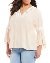 Jessica Simpson Ren Lace Trim Peasant Top - Multicolor