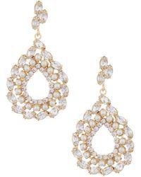Belle By Badgley Mischka - Rhinestone & Faux-pearl Open Teardrop Earrings - Lyst