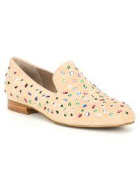 Donald J Pliner Lana Suede Block Heel Loafers - Natural