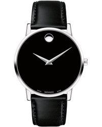 Movado - Museum Classic Black Calfskin Strap Watch - Lyst