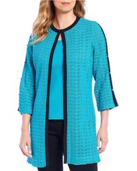 Ming Wang - Studded Sleeve Chevron Textured Knit Washable Jacket - Lyst