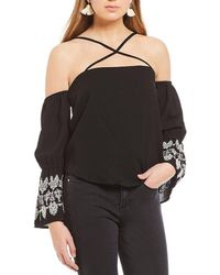 Banjara - Off-the Shoulder Embroidered Bell Sleeve Top - Lyst