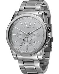 Armani Exchange - Ax Silvertone Stainless Steel 3 Hand Chronograph Watch - Lyst