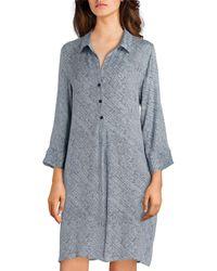 Sesoire Feather-printed Woven Sleepshirt - Blue