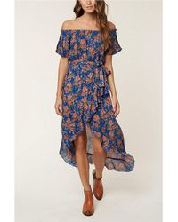 O'neill Sportswear - Constance Floral Printed Off-the-shoulder Ruffle Hem Wrap Maxi Dress - Lyst