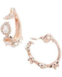 Anne Klein - Pearl Pave Clip Hoop Earrings - Lyst