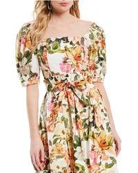 4a8447ace79eb Antonio Melani - Floral Print Square Neck Puff Sleeve Cynthia Blouse - Lyst