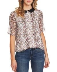 Cece - Peter Pan Collared Abbey Bouquet Floral Print Blouse - Lyst