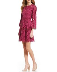 Laundry by Shelli Segal | Lace Bell Sleeve Dress | Lyst