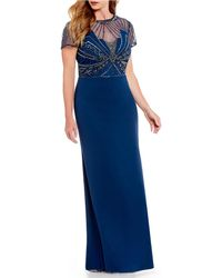 Adrianna Papell - Plus Size Beaded Bodice Gown - Lyst