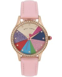 Betsey Johnson Colorblock Pie Chart Dial Watch - Pink