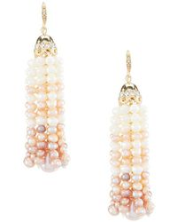 Carolee - Petals And Pearls Tassel Statement Earrings - Lyst