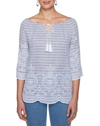 Ruby Rd. - Petite Size Tassel Tie-neck Stripe Print Embroidered Top - Lyst