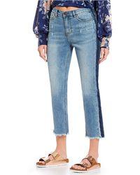 da0ac7da Buffalo David Bitton - Riley Frayed Crop Contrast Jeans - Lyst