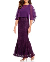 Marina - Chiffon Capelet Lace Long Gown - Lyst