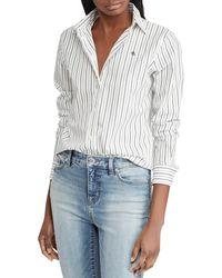 Lauren by Ralph Lauren - Embroidered Stripe Button-down Shirt - Lyst
