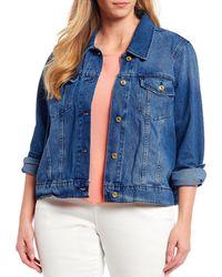 Michael Kors Michael Plus Size Basic Denim Jacket - Blue
