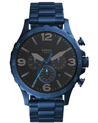 Fossil - Nate Chronograph Blue Stainless Steel Watch - Lyst