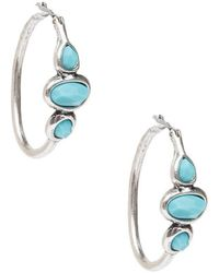 Lucky Brand - Silver & Turquoise Hoop Earrings - Lyst