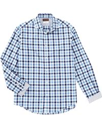 Thomas Dean Check Blue Long-sleeve Woven Shirt