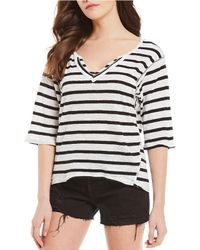 Free People Head In The Clouds Knit Stripe Slouchy Tee