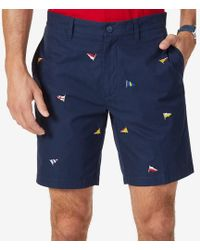 """Nautica - Big & Tall Classic-fit Embroidered 8.5"""" Deck Shorts - Lyst"""