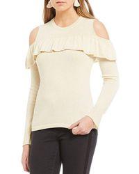 Banjara - Cold Shoulder Ruffle Hem Sweater - Lyst