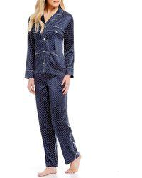 Lauren by Ralph Lauren - Dot-print Satin Classic Pajamas - Lyst
