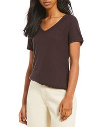 Comune | Michelle By Malibu Core Short Sleeve V Neck Solid Knit Tee | Lyst