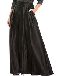 Alex Evenings Plus Size Satin Inverted Pleat Ballgown Skirt - Black