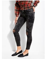 Guess - Black Floral Sexy Curve Jean - Lyst