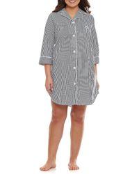 Lauren by Ralph Lauren Plus Classic Notch-collar Sleepshirt - Gray