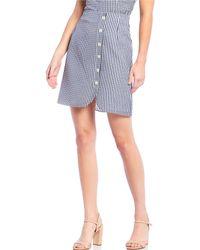 Gianni Bini Valerie Plaid Silk Blend Chiffon A-line Button-front Skirt - Blue