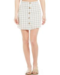 Blu Pepper - Windowpane Print Mini Skirt - Lyst