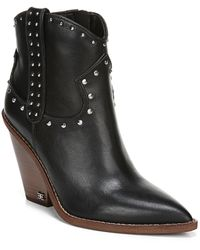 Sam Edelman - Iris Studded Western Leather Wedge Booties - Lyst
