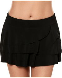 Miraclesuit Solids Layered Ruffle Skirt - Black