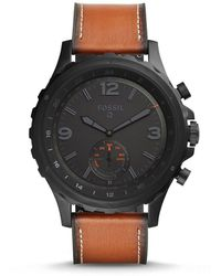 Fossil - Q Nate Leather-strap Hybrid Smartwatch - Lyst