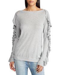 Lauren by Ralph Lauren - Ruffled Silk-blend Sweater - Lyst