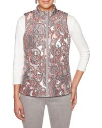 Ruby Rd. - Paisley Print Quilted Reversible Zip Front Vest - Lyst