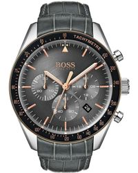 BOSS - Chronograph Trophy Gray Leather Strap Watch 44mm - Lyst