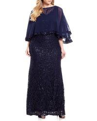 Marina - Plus Size Capelet Lace Gown - Lyst