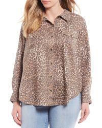 Jessica Simpson Plus Size Petunia Leopard Print Button Up Shirt - Multicolor