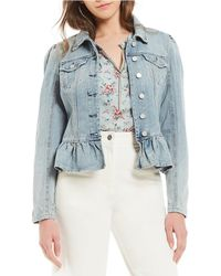 Chelsea & Violet Peplum Hem Distressed Denim Jacket - Blue