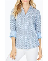 Foxcroft Mary Tile Medallion Print Button Front Blouse - Blue