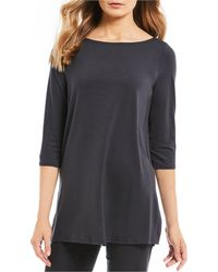 1b176dfdc3b Eileen Fisher - Petite Size Boat Neck Tunic Top - Lyst
