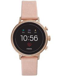 Fossil Q Venture Hr Leather-strap Gen 4 Smart Watch - Pink